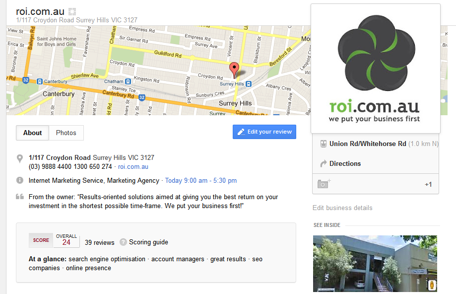 roi google+ local page Google Places Replaced By Google+ Local – Australian Rollout in Effect