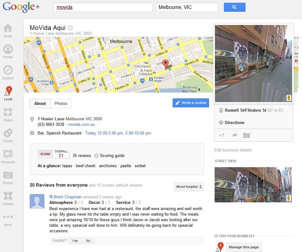 movida google+ local listing
