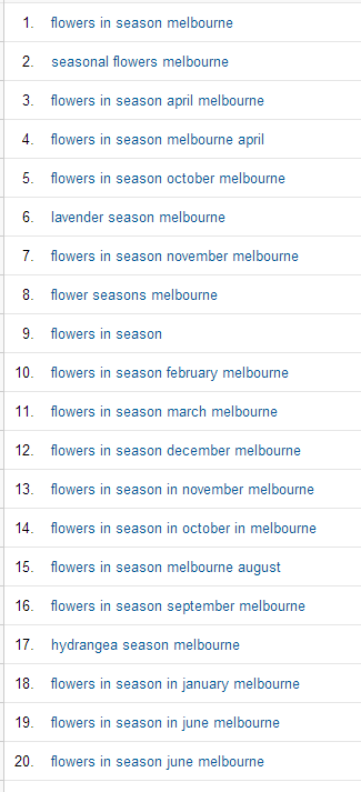 The kind of keywords driving a whole heap of traffic to a page that answers questions about when different flowers are in season.